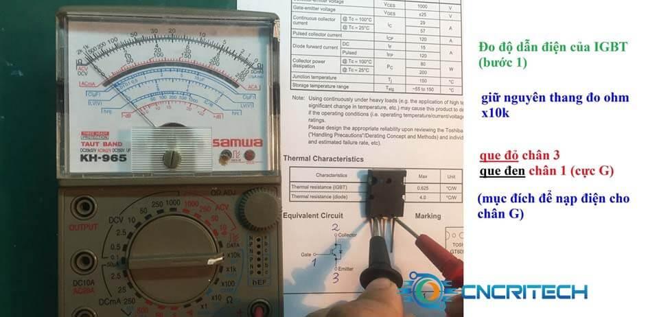 Đo độ dẫn điện của IGBT bước 1