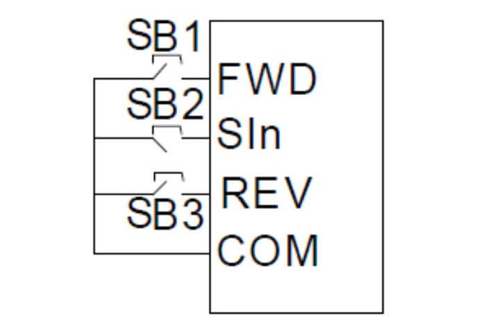 Sơ đồ điều khiển 3 dây biến tần INVT GD200A
