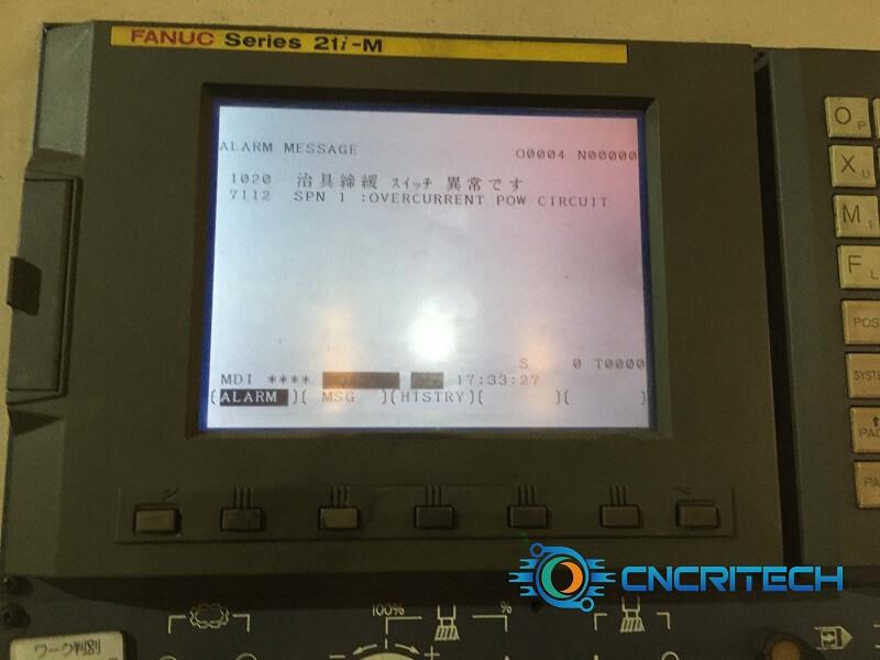 Màn hình báo lỗi máy CNC Takisawa